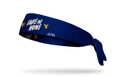 navy headband with West Virginia University Take Me Home wordmark in white and gold
