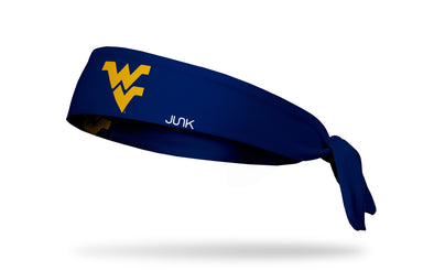 navy headband with West Virginia University W V logo in gold