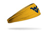 gold headband with West Virginia University W V logo in navy