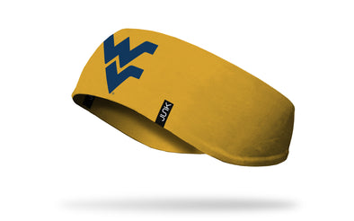gold ear warmer with West Virginia University W V logo in navy