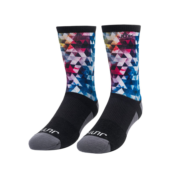 colorful pink red blue yellow geometric design JUNK athletic crew socks