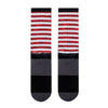 bottom back view of american flag red white and blue printed JUNK athletic socks