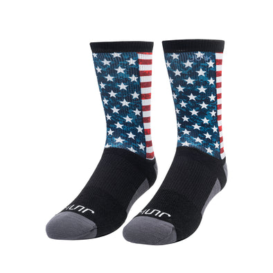 front standing view of american flag red white and blue printed JUNK athletic socks