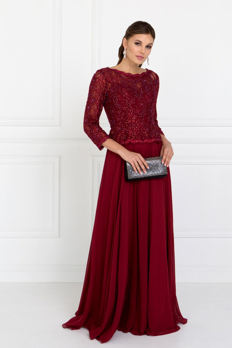 Burgundy Mother of the groom Gown