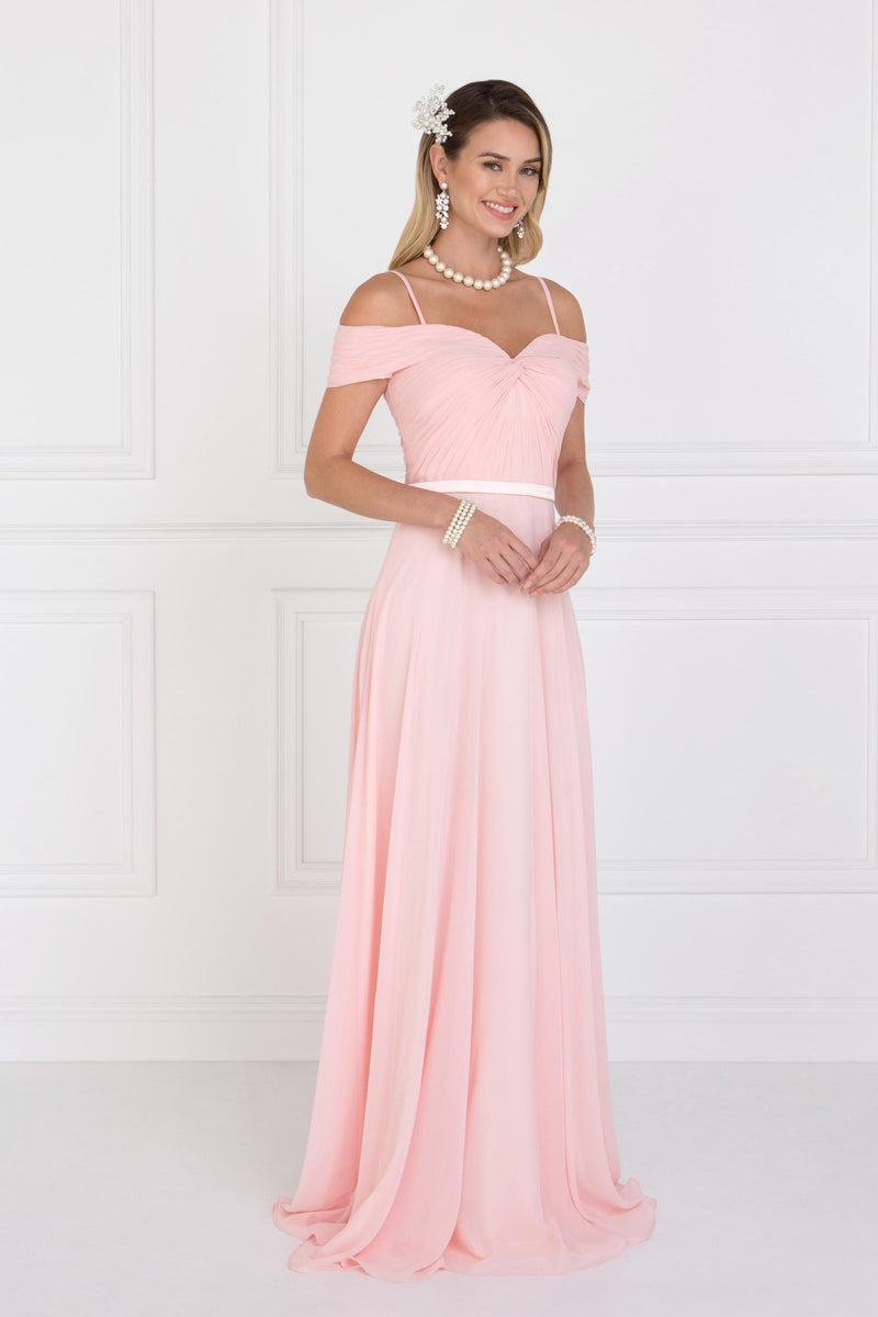 Cold Shoulder Blush Bridesmaid Dress