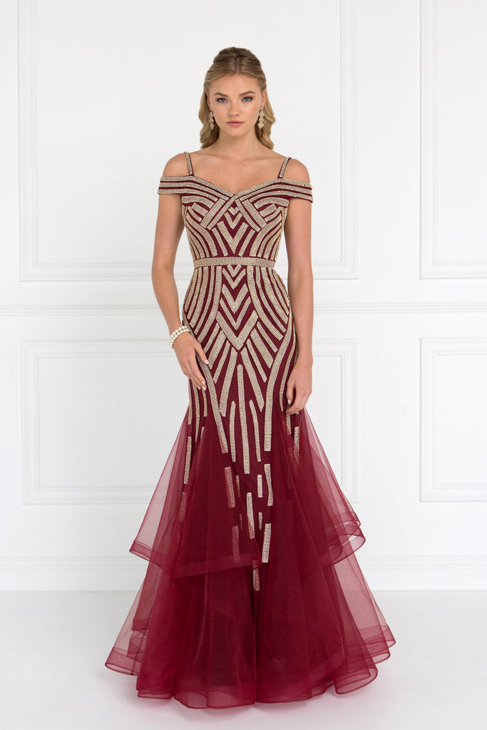 99125aca4773 Trumpet mermaid evening gown. Burgundy Tulle off shoulder trumpet long  mermaid Prom Dress