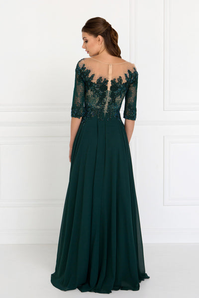 3/4 sleeves Red Carpet Mother of the Bride Groom Chiffon A-Line Gown