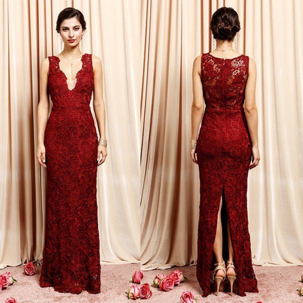 V Neck Lace maxi Bridesmaid Lace Long Dress in Burgundy and Dusty Rose