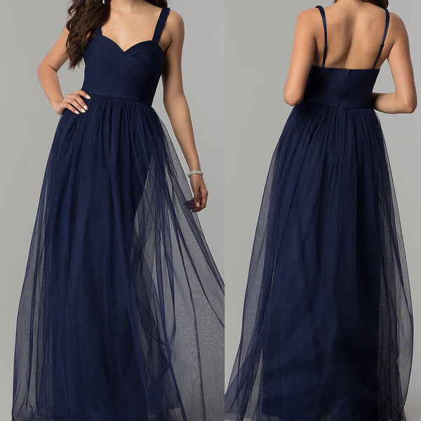 long navy bridesmaid dress