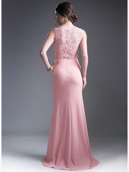 Mermaid Lace illusion sheer midriff long formal gown bridesmaid dress 8 colors