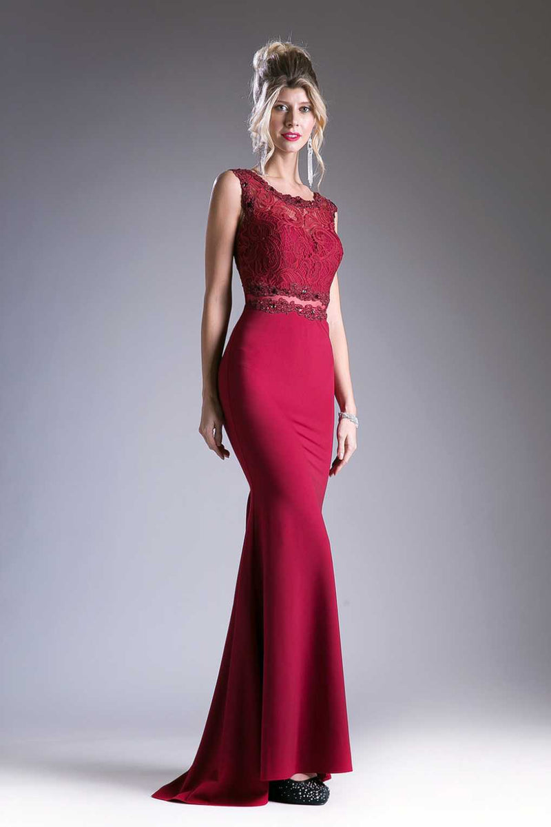 Burgundy mock 2 piece prom dress