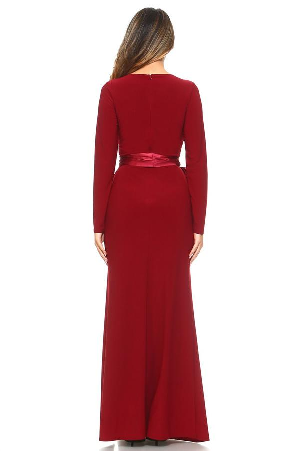 Floor Length Chiffon Minerva long sleeves Bridesmaid dress in Navy and Burgundy