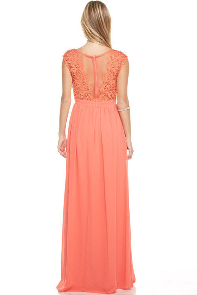Affordable Crochet Chiffon long Bridesmaid dress Navy, Coral, Grey, Mint & Blush
