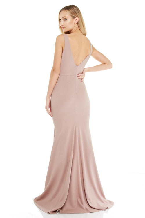 Affordable floor length mermaid bridesmaid prom dress Rosé evening gown 3 colors