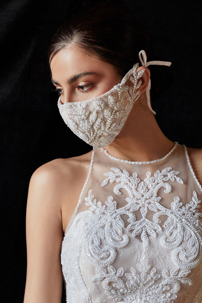 Ivory Bridal Mask, Wedding Mask, White wedding mask, prom mask