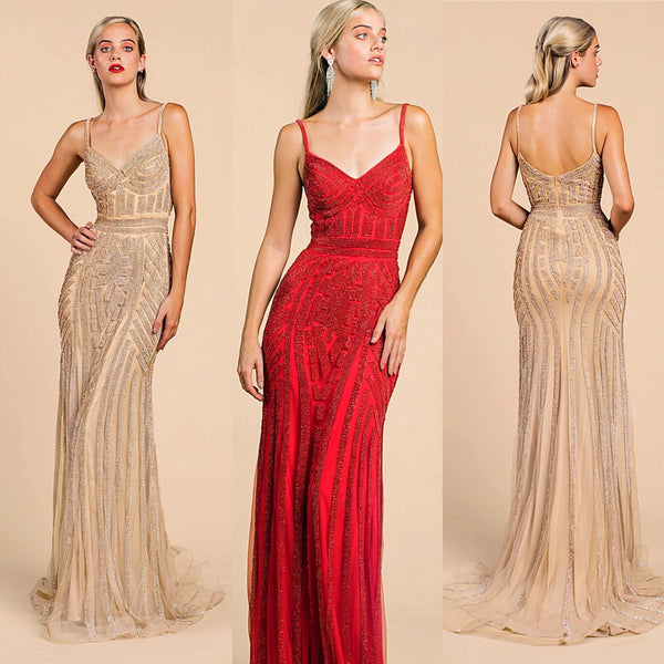 Long Gold crystal Prom Dress