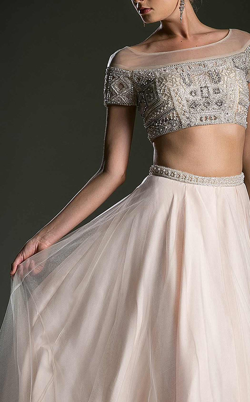 2018 Designer Crop top and skirt Beaded Prom Evening Gown