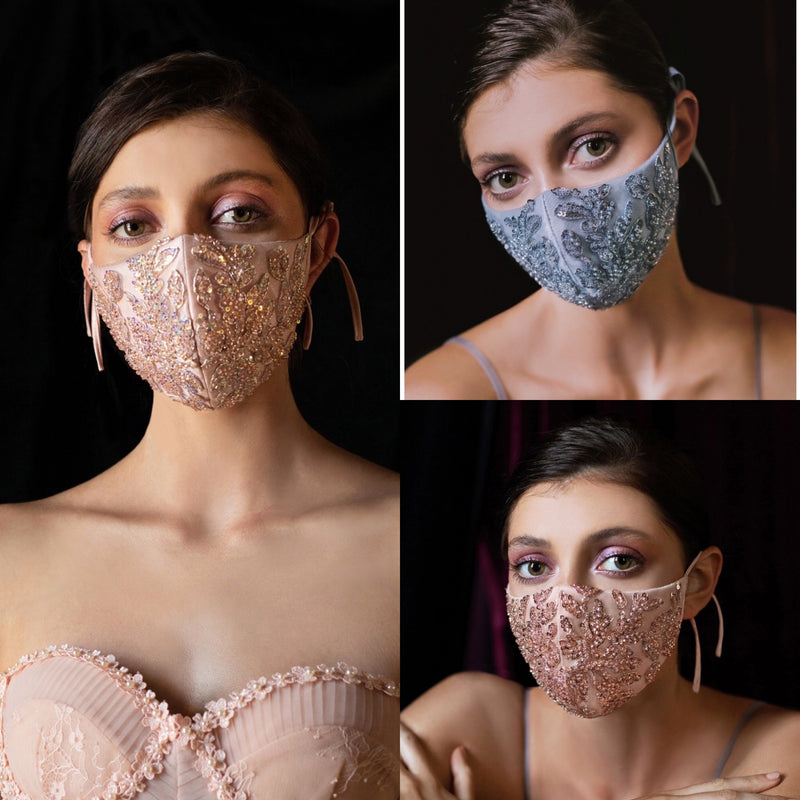Beaded Face Mask, Bridal Mask, Something Blue, fancy face mask, bling face covering , Blush Face Mask, Face Covering, unique face mask, Rose Gold Wedding, Luxury Face Mask, Celebrity Mask