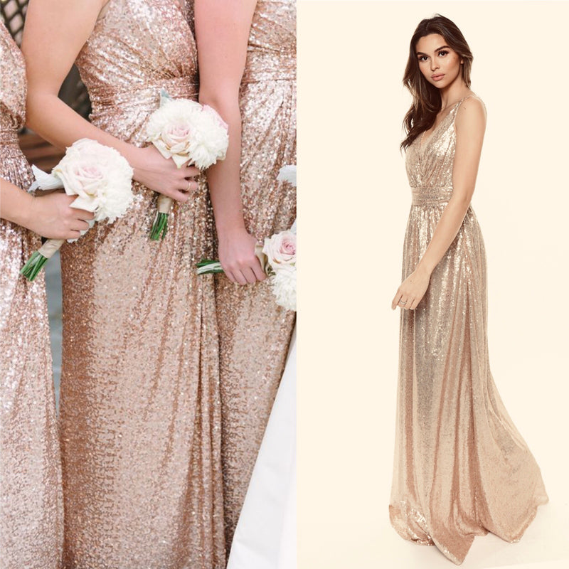 Glamorous Sequin Matte Gold Bridesmaid long maxi Dress