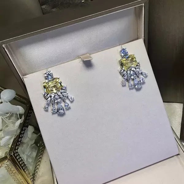 High Quality Faux Yellow Canary Diamond Stud Platinum Plated Bridal Earrings