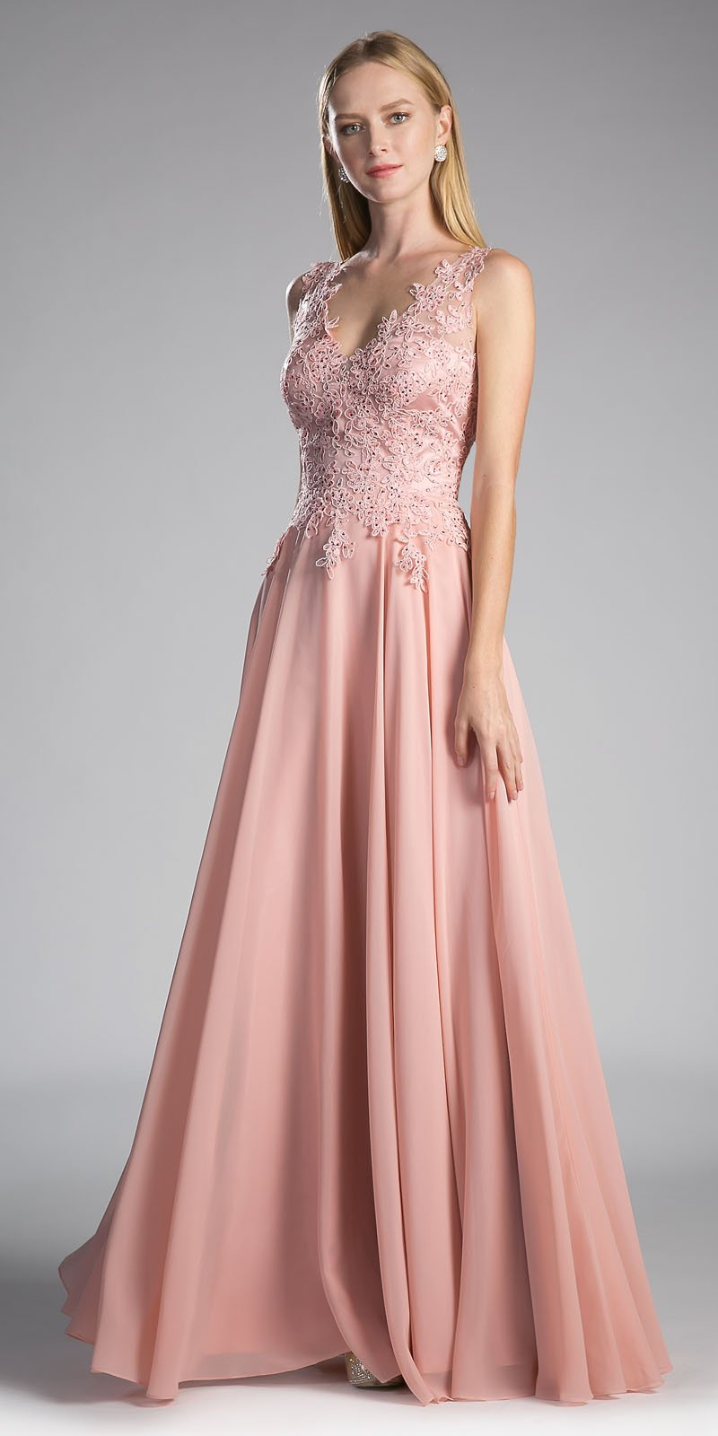 Blush long bridesmaid gown