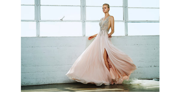 Chiffon blush prom dress