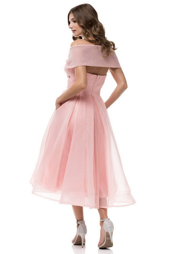 Sweet Rose flirty Tea Length off shoulder Midi Vintage Bridesmaid Dress