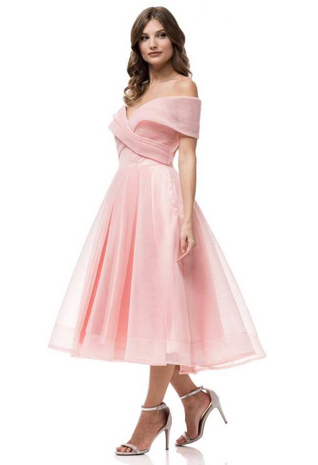 Sweet Rose flirty Tea Length off shoulder Midi Vintage Bridesmaid ...