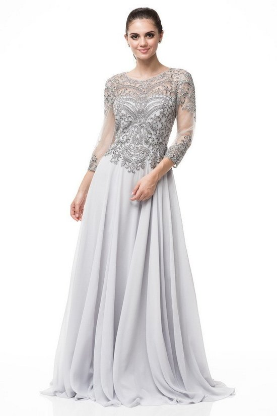 990d28876ce A- line Silver embroidered 3 4 sleeves mother of the bride dress or ...