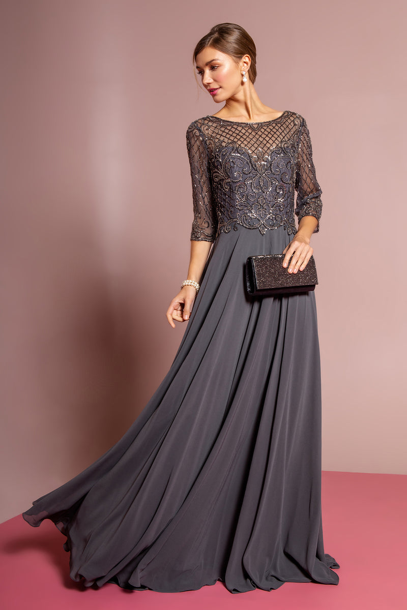 Charcoal 3/4 Sleeves mother of the bride or groom dress