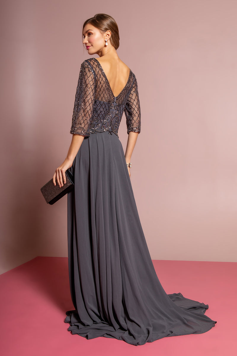 Mother of the Bride Groom Gown Chiffon Long Dress 3/4 Sleeves Navy and Charcoal