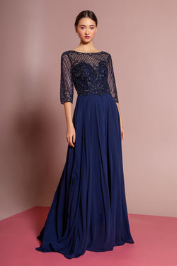 Navy 3/4 sleeves mother of the bride or groom chiffon dress