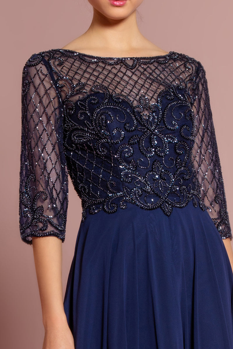 long sleeves navy wedding guest dress