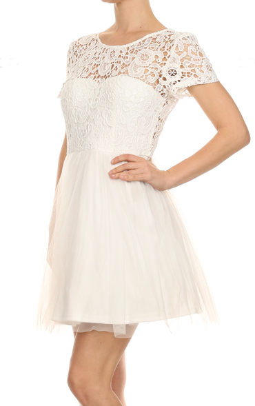 Off White short lace tulle dress perfect for Bridal shower
