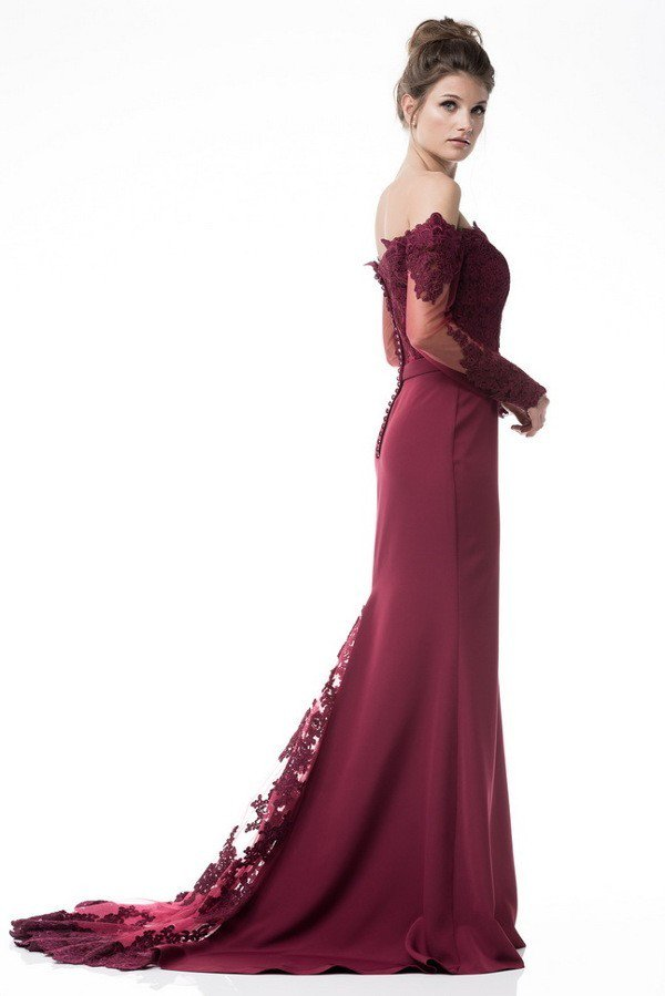 Burgundy off the shoulder evening gown