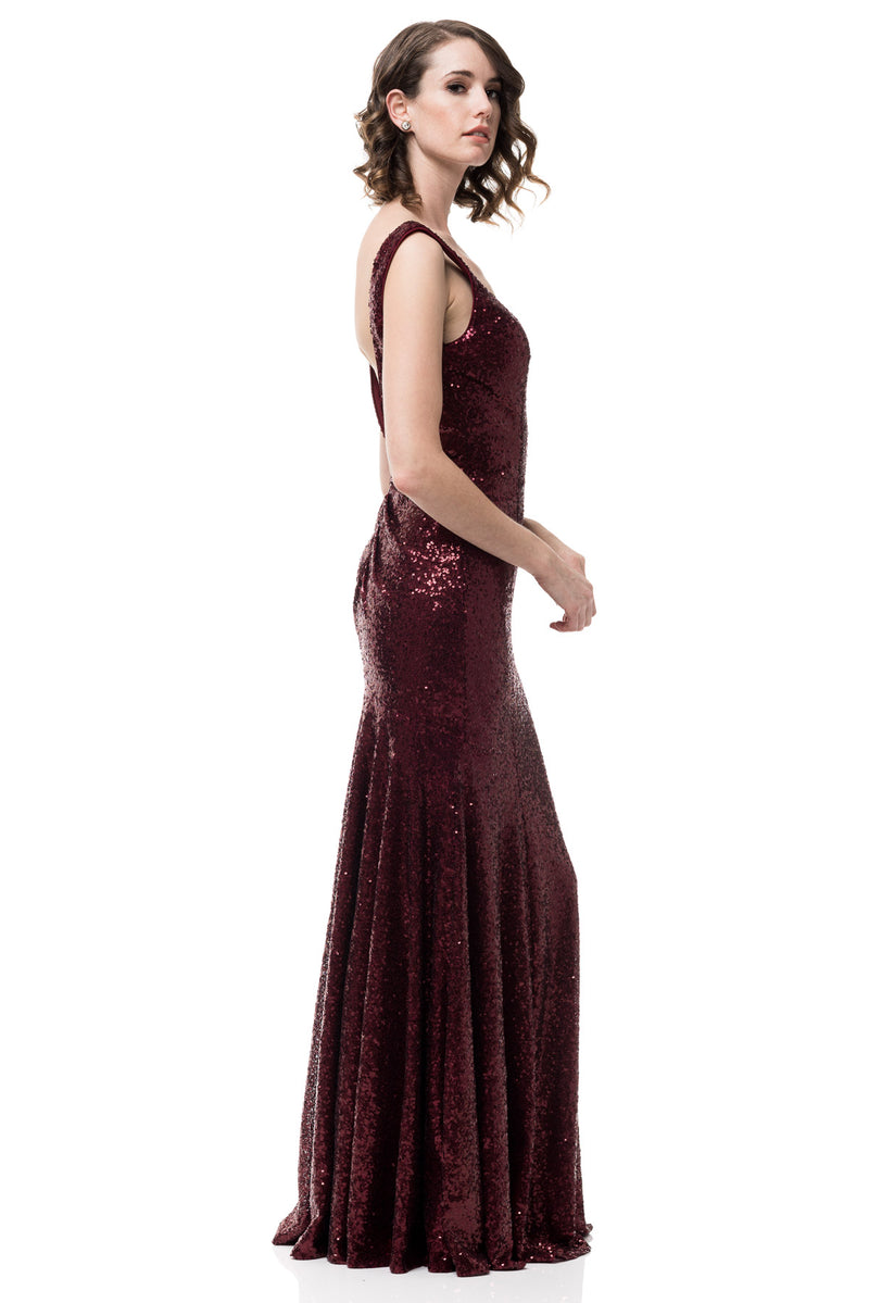 Aged Wine Backless Sleeveless V-neck mermaid Sequin Long Bridesmaid dress