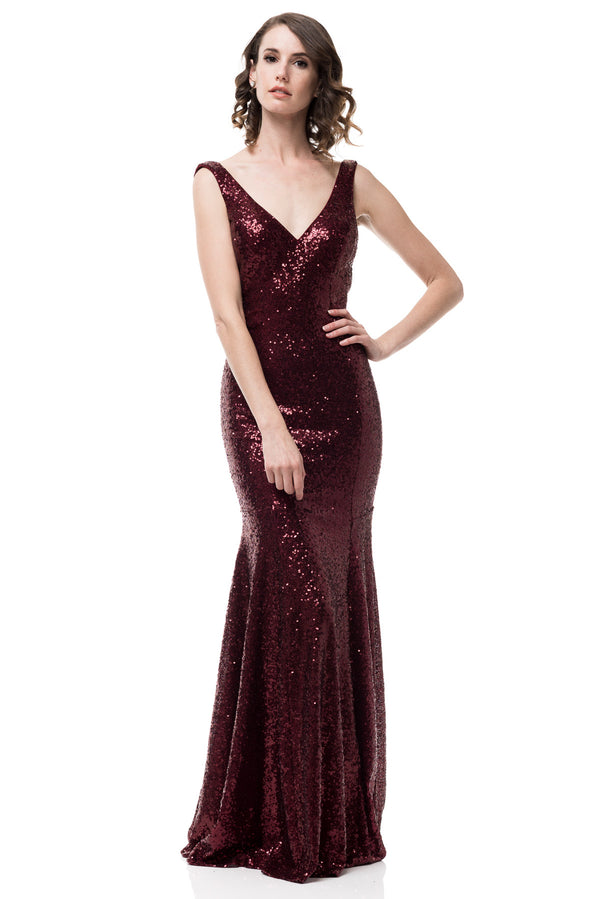 Burgundy Sequin Bridesmaid Dress