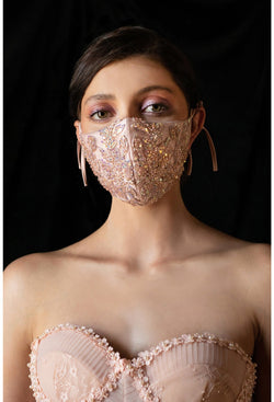 Beaded Face Mask, Bridal Mask, Something Blue, fancy face mask, bling face covering , Blush Face Mask, Luxury Face Mask