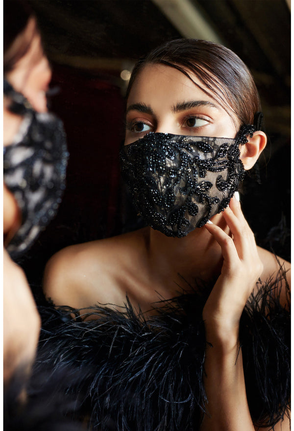 Formal Luxury Black mask, Beaded Black Mask, Formal Mask, Prom masi, designer mask