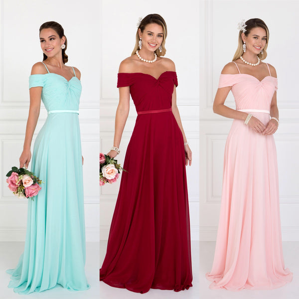 2018 A-line Cold Shoulder Chiffon Long Bridesmaid Dress Blush, Burgundy and Mint