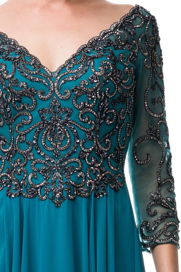 a6efdf03d08 Teal Mother of the Bride Dress  Teal evening gown  Teal Wedding  Inspiration  Teal Embellished A Line Long evening gown Chiffon 3 4 sleeves  ...