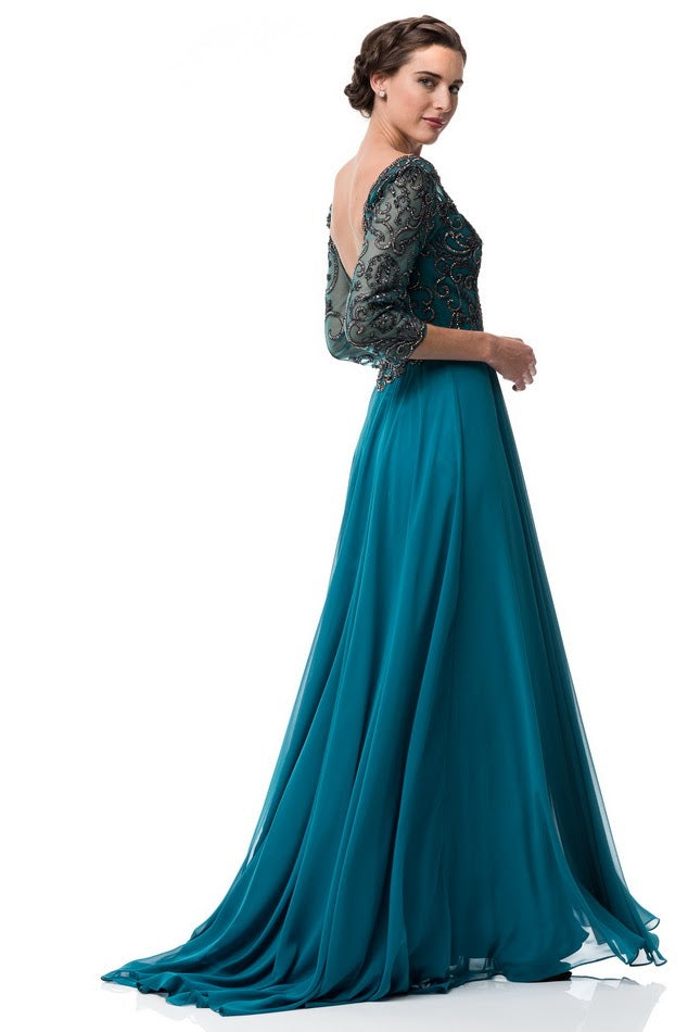 96d96d0fc08 ... Teal Embellished A Line Long evening gown Chiffon 3 4 sleeves mother of  the bride ...