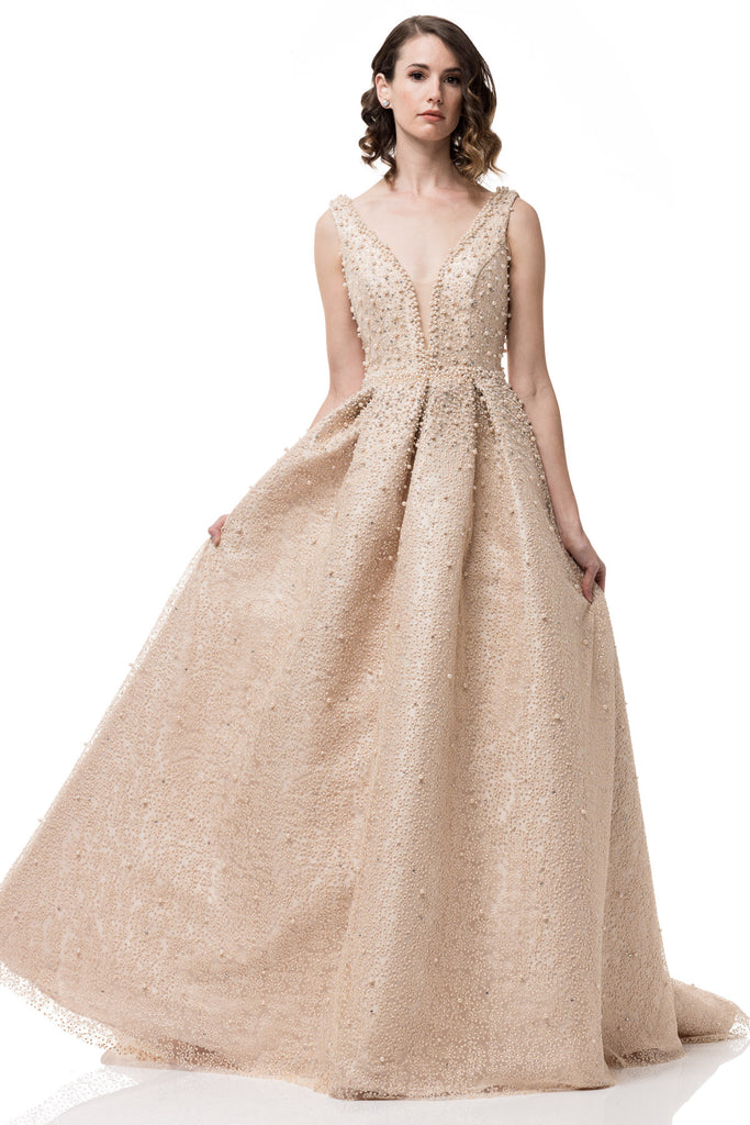 High End Long Mikado Ball Gown With Pearls And Tulle Prom Dress