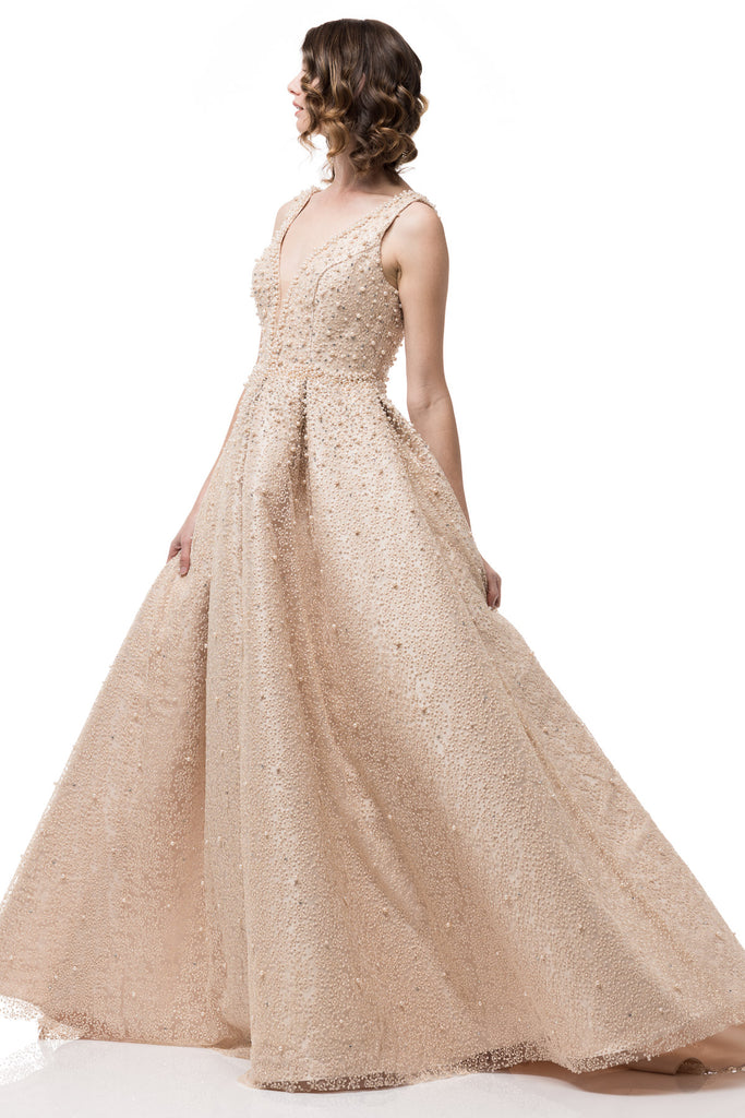 High End Long Mikado Ball Gown with Pearls and Tulle Prom Dress ...
