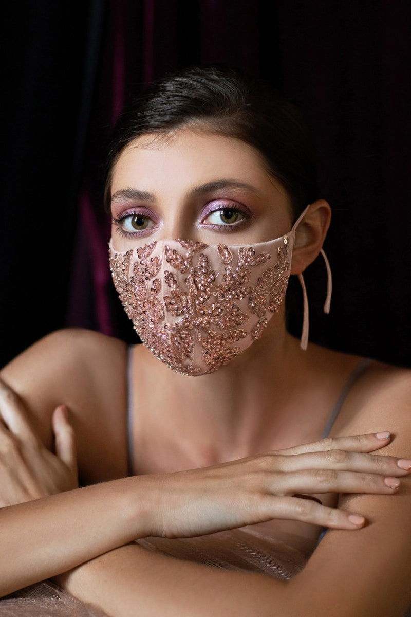 Beaded Face Mask, Bridal Mask, Something Blue, fancy face mask, bling face covering , Rose Gold Face Mask, Rose Gold wedding, Luxury Face masks