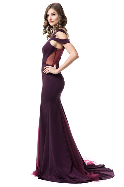Elegance Long Off Shoulder Plum Bridesmaid Prom trumpet gown