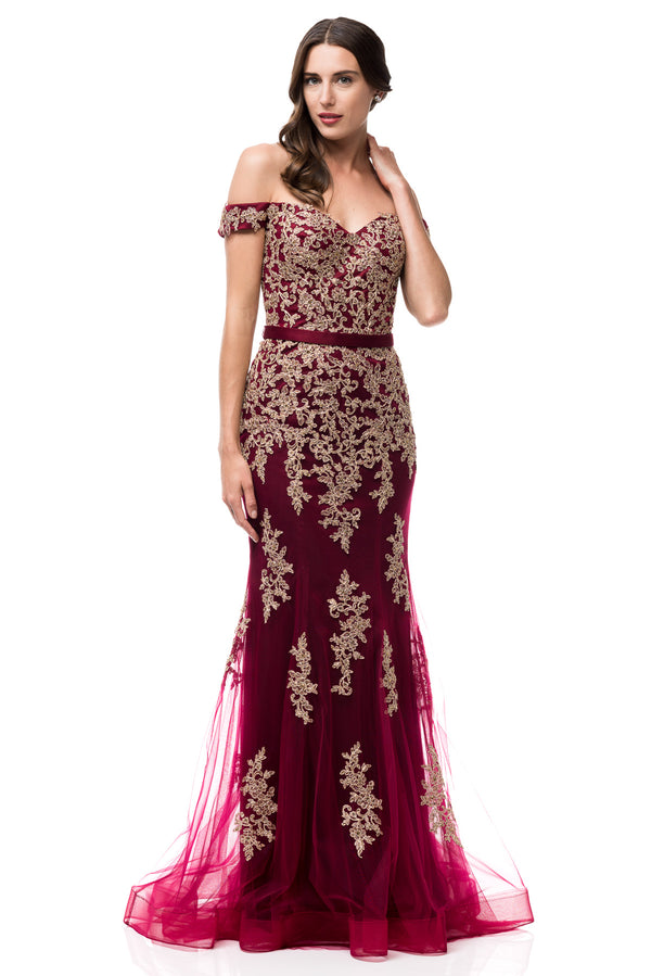 Oscar Gold and Burgundy Dress