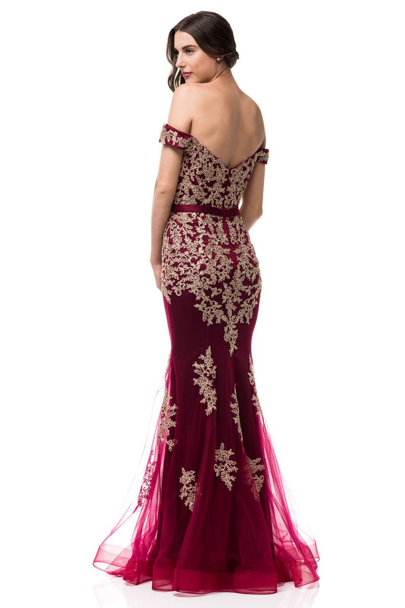 Oscar Off Shoulder Burgundy & Gold Mermaid Tulle Evening Gown Long Prom Dress