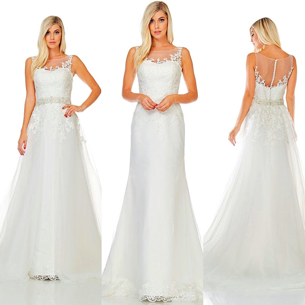 Detachable Trains For Wedding Gowns: Designer Off White Wedding Dress Bridal Gown With