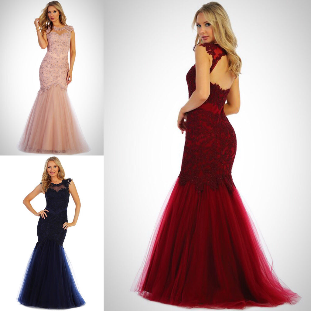 Illusion Mermaid Tulle Trumpet Dress Bridesmaid Evening Gown in 3 ...